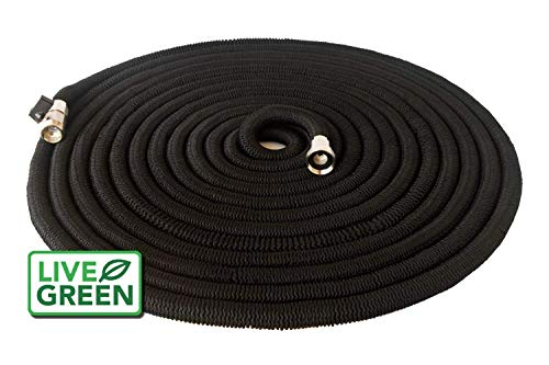 Heavy Duty 150 ft Black Expandable Garden Hose | All New Design - Lifetime Warranty | Nickel Plated Brass Fittings | Nozzle Included (150, Black) by Live Green