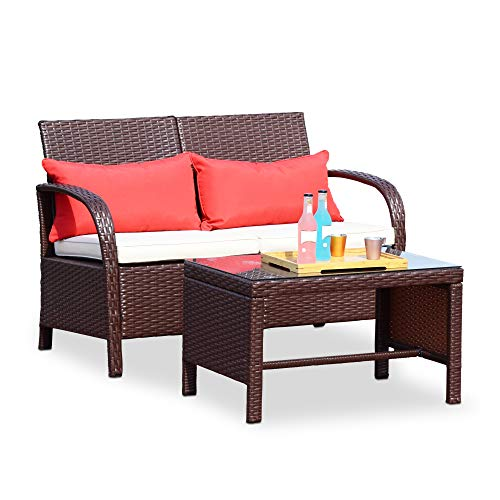 Wilcum Patio Loveseat Wicker Rattan Outdoor Loveseat Furniture Outdoor Bench Modern Indoor Outdoor Sofa Patio Furniture Sets Cushioned Chair, Brown Rattan with Beige Cushion