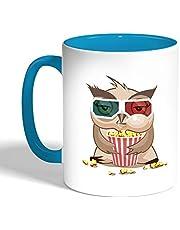 كوب سيراميك للقهوة، لون بنك، بتصميم الشعور بالجوع - بومة