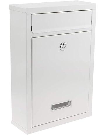PrimeMatik - Buzón metálico para Cartas y Correo Postal de Color Blanco 215 x 82 x