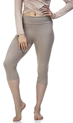 1369bb2b826e02 Lush Moda Women's Basic Capri Leggings with Yoga Waist- Extra Soft and  Variety of Colors - White Coffee