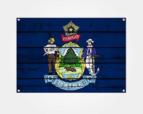 Maine State Flag Wood Print Wall Art Decoration 24x15 inch