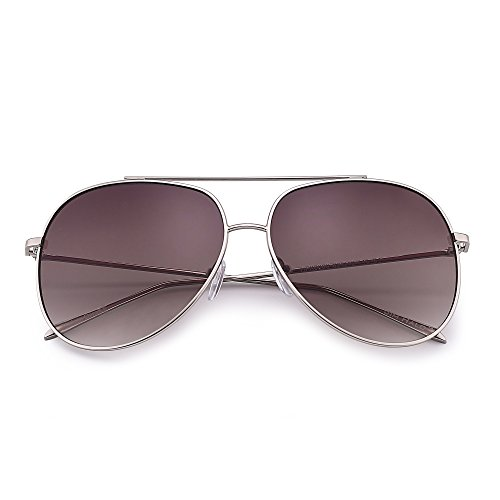 Classic Oversized Aviator Sunglasses for Men Women Double Bridge Gradient Lenses UV400 (Silver / Gradient - Frame Sunglasses Silver