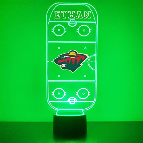 Minnesota Handmade Acrylic Personalized Wild Hockey Rink Hockey Rink LED Night Light - Remote, 16 Color Option, Great Personalized Gift, Engraved