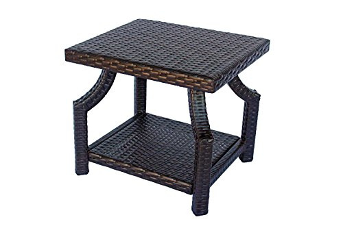 Small Patio Side Table Dark Brown Wicker 18 X 21.5 X 19 Inches. Dola