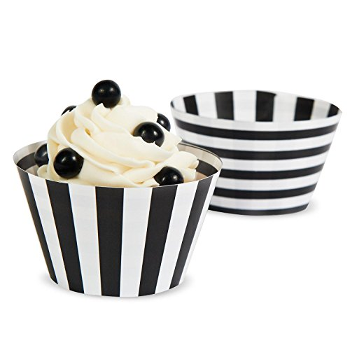 Black & White Striped Reversible Cupcake Wrappers (12)]()
