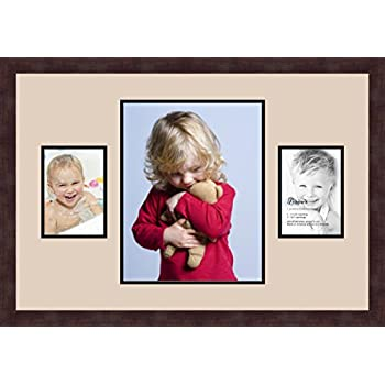 Art to Frames Double-Multimat-206-89//89-FRBW26061 Collage Frame Photo Mat Double Mat with 1-11x14 and 2-5x7 Openings and Espresso Frame
