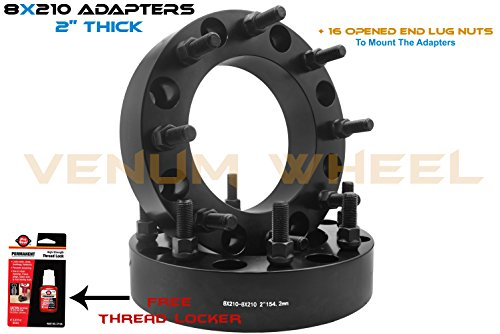 2 Pc 8x210 Dually Wheel Spacers Adapters Black 2'' Thick M14x1.5 Thread Pitch Fits 2011-2018 Chevrolet Silverado GMC Sierra 3500 HD Dually Models Only by Venum wheel accessories