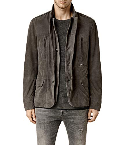 AllSaints Men's Amherst Anthracite Leather Blazer (ML115H) - S from AllSaints