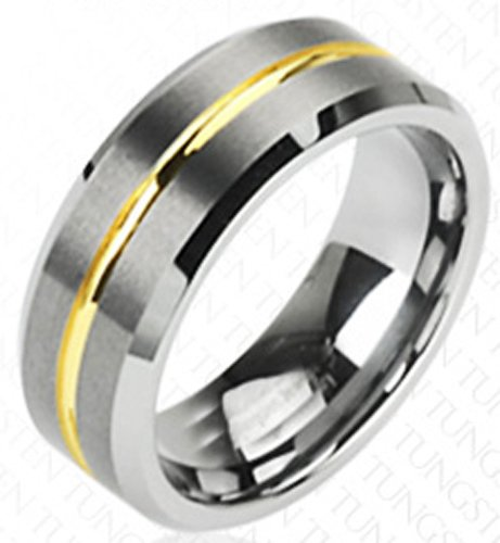 Mens Gold Tone Striped Center 8MM Tungsten Ring