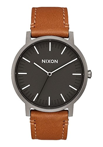 NEW Nixon Porter Leather Watch Charcoal With Tan Band