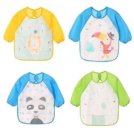 HaimoBurg Pack de 4 babero con mangas EVA Impermeable babero de manga 9-36 meses