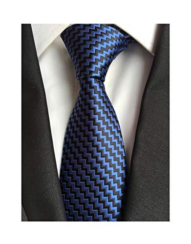 Men's Boy Wave Striped Black Blue Silk Tie Jacquard Woven Formal Meeting Necktie