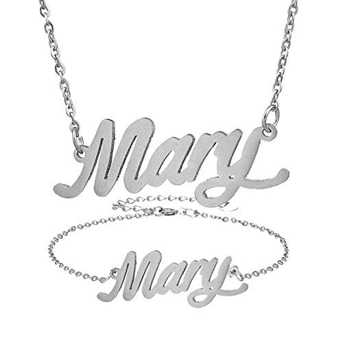 AIJIAO Personalized Name Necklace + Name Bracelet Set for Women Nameplate Pendant Gift -Mary Silver - Earrings Name Script