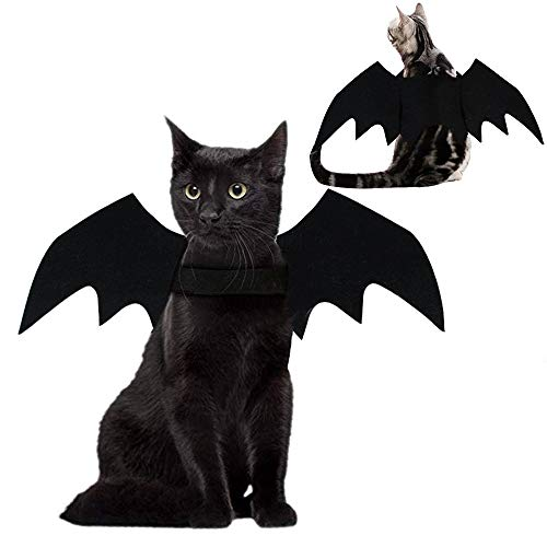 AWASBO Pet Cat Bat Costume – Halloween Pet Costume Bat Wings Cosplay Party Comfort Pet Apparel for Cats Small Dogs Puppy Costume