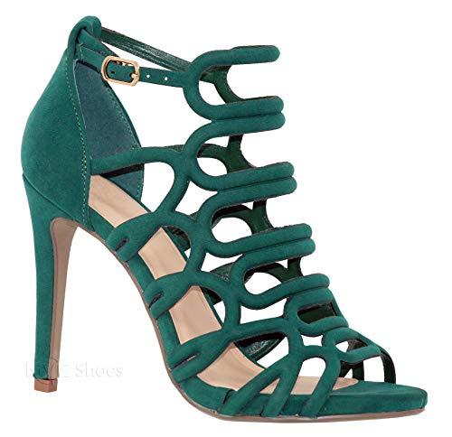 MVE Shoes Women's Open Toe Cutout Design Comfortable High Heels Stiletto Dress Sandals, London Green NBPU 7 ()