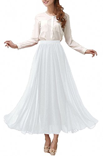 Afibi Womens Chiffon Retro Long Maxi Skirt Vintage Dress (Medium, White) ()