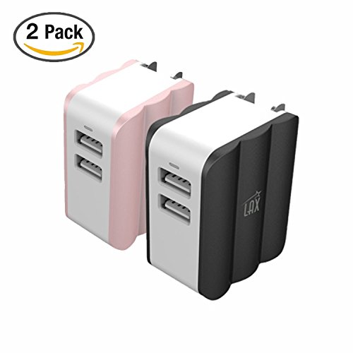 Rapid Dual USB Wall Charger 3.4A - Foldable Plug AC Adapter for iPhone X/8/7/7 Plus/6S/6 Plus, iPad Pro Air/Mini and other Tablet [Black + Rose Gold] by LAX Gadgets
