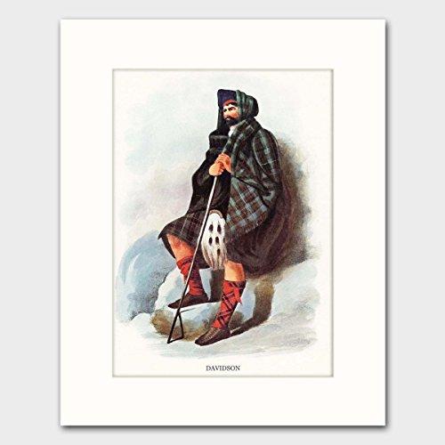 Scottish Clan Costume (Davidson Clan, Family Name Wall Art w/Mat (Wall Decor, Scottish Highland Dress) Matted Print)