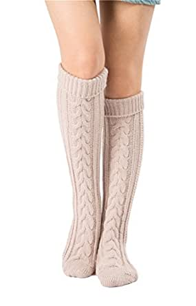SherryDC Women's Cable Knit Long Boot Socks Over Knee High Winter Leg Warmers One Size Beige