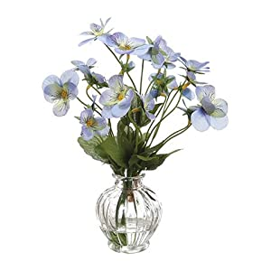 "8"" Pansy in Glass Vase Helio (pack of 12) 72"