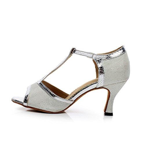 misu - Zapatillas de danza para mujer plateado / negro DkYO36mu8