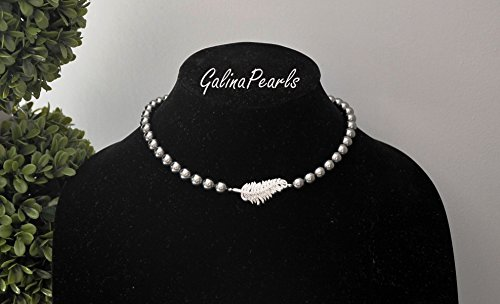 Swarovski Crystal Gray Pearl Necklace,AAA-Quality Sparkly Cubic Zirnonia Centerpiece,925 Sterling Silver Clasp.