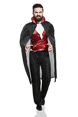 Adult Men Dracula Halloween Costume Prince of Darkness Gothic Vampire Clothing (Medium/Large, Black, Red, (Male Halloween Costume Makeup)