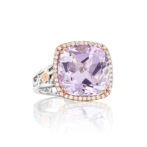 Tacori SR100P13 18K Rose Gold and Sterling Silver Lilac Blossom Amethyst Ring, Size 6 (0.18 cttw, H-I Color, I2-I3 Clarity) ()