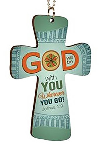 """mySimple Products Cool & Custom {6"""" Bead Chain Hang} Single Unit of Rear View Mirror Hanging Ornament Decoration w/Abstract Christian Cross God Will Be With You Design [Suzuki Green & Orange Colored]"""