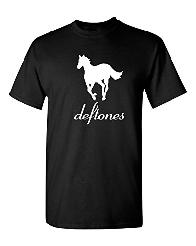New DEFTONESWhite Pony Rock Band Logo Men's Black T-Shirt Size S to 3XL (3X, Black) ()
