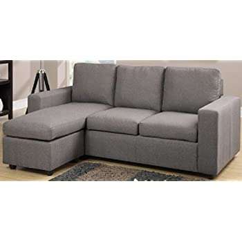 Amazon Modern Grey Linen Like Fabric Reversible Sectional