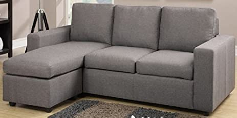 Modern Grey Linen Like Fabric Reversible Sectional Sofa By Poundex