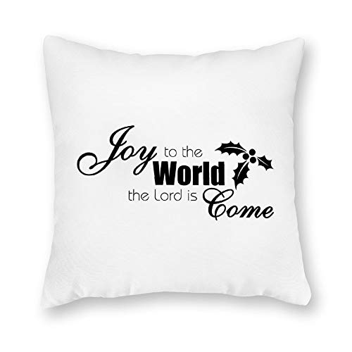 (DKISEE Decorative Joy to The World The Lord is Come Square Throw Pillow Cover Canvas Pillow Case Sofa Couch Chair Cushion Cover for Home Decor )
