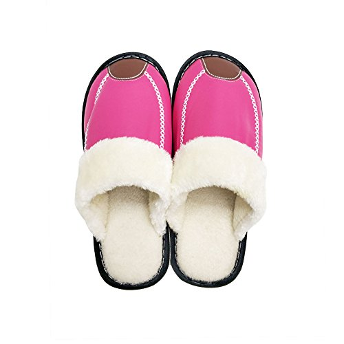 Women's Red Skid Faux Foam Fluffy House Slipper Men Memory HRFEER Cozy Rose Indoor amp;Outdoor Lined Anti Slippers Fur fqnTwUOd