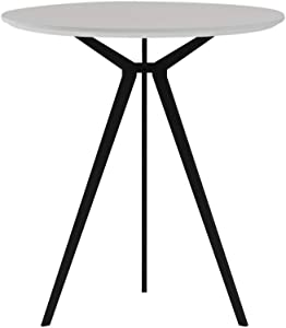 Small White Round Conference Table Round Dining Table with 3 Legs Home Workstation Table for Living Room Waterproof Tabletop Easy Assembly 27.5 inch