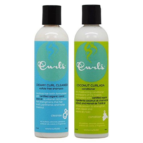 Curls Shampoo (Curls Creamy Curl Cleanser Shampoo & Coconut Curlada Conditioner 8oz Duo
