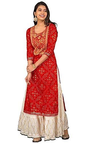GANPATI CREATION Rayon Straight Kurti with White Sharara Plazzo for Women & Girls Dress