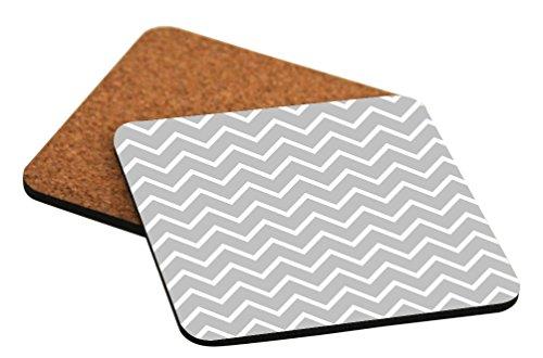 "Rikki Knight ""Grey Chevron Zig Zag Stripes Design"" Square Beer Coasters"