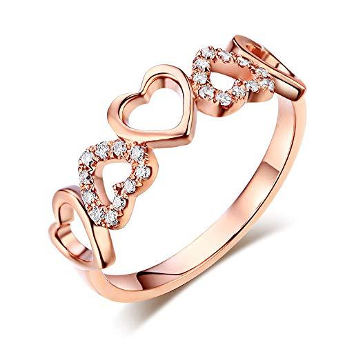 14K Rose Gold Heart Wedding Band Ring 0.12 Ct Natural Diamonds (0.12 Ct Natural)