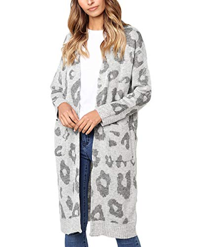 FAFOFA Women Winter Cardigan Coat Leopard Printed Long Sleeve Open Front Midi Length Sweater Outwear Grey M