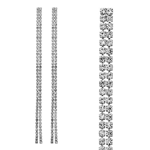 David Designer Costume Dangle (Rosemarie Collections Women's Double Strand Crystal Rhinestone Extra Long Drop Earrings (Silver)