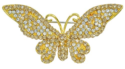 (Gyn&Joy Women Jewelry Light Topaz Colored Crystal Rhinestones Elegant Butterfly Brooches Pins BZ186TA)