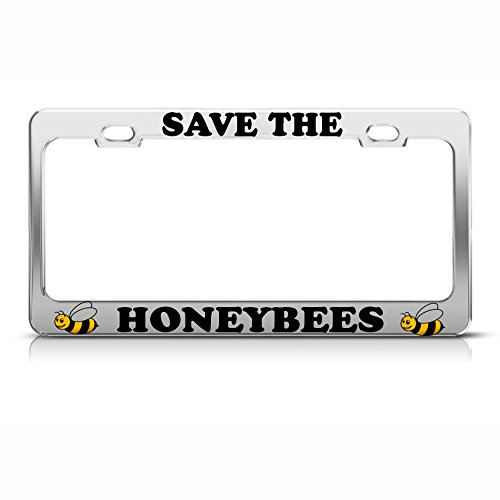 AutoLPFrames SAVE THE HONEY BEES Heavy Duty Chrome License Plate Frame Tag Border, bee gifts