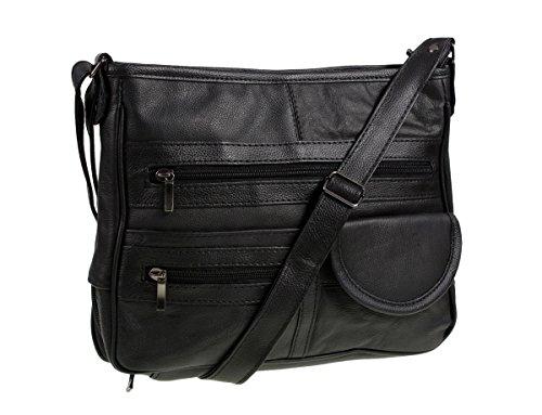 Bolso piel de Negro de de auténtico mano cuero REF3771 rqr4R7n