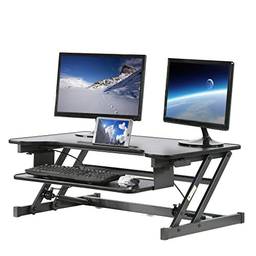 Height Adjustable Standing Desk Converter Riser Stand Up Laptop Table Compact Desktop Computer Workstation Sit to Stand up with Keyborard for Home Office 32 Inch Length