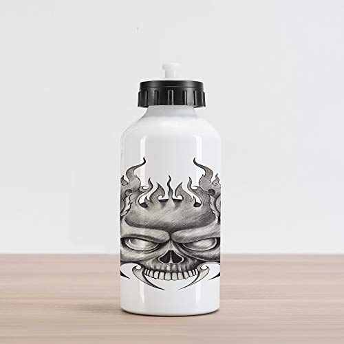 (Lunarable Tattoo Aluminum Water Bottle, Sinister Skull Face Head Mask with Teeth Horror Theme in Sketch Style Evil Punk Rock Print, Aluminum Insulated Spill-Proof Travel Sports Water Bottle,)