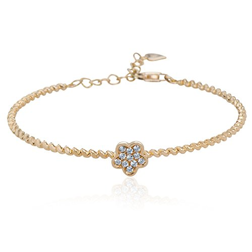 Women's 18K Yellow Gold Chain Bracelet with 11 Round Brilliant Cut 0.14ct Diamonds Set in Flower Design,Lobster Clasp