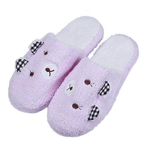 Bear Lovely coton Accueil sol en Fami rembourré Rose confortable Chaussons Chaussures souple q1d65wOx