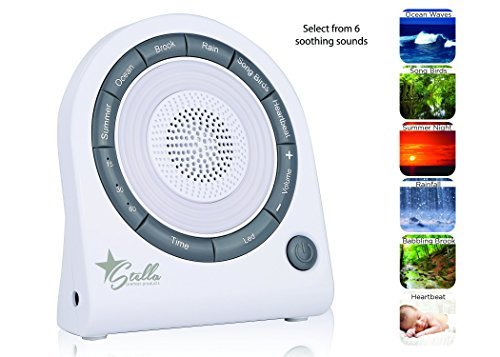 Stella Relaxation Sound Sleep + Light Soothing Machine, 6 Nature Sounds, 5 Color LED Night Light, USB cord Included. by Stella Premier